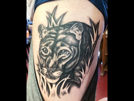 Panther Tattoo  Illustrative Realism Tattoo  Black And Grey Tattoo  Black Grey Thigh