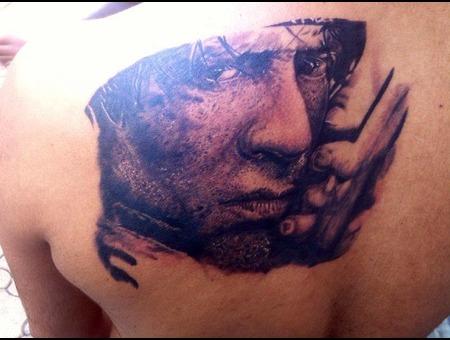 Portrait Tattoo  Sylvester Stallone  Hollywood Celebrity Tattoo Black Grey Back