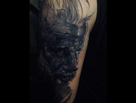 Warrior Tattoo Black Grey Arm