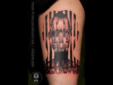 Optical Illusion Tattoo  3 D Tattoo  Black Grey Hip