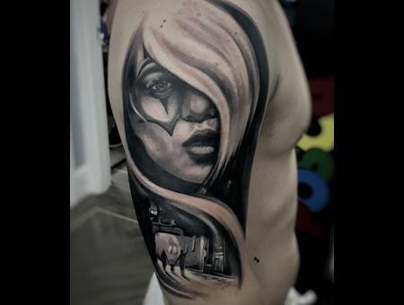 Portrait Black Grey Arm
