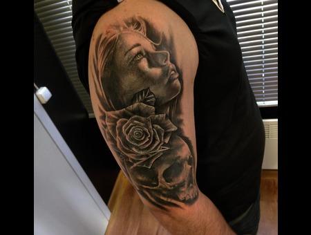 Skull  Women  Rose Tattoo Design. #Inkandarttattoo Ink & Art Tattoo Shop Black Grey Shoulder