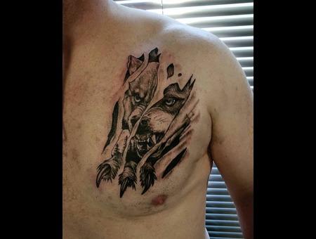 Wolf Claw Tattoo Design. #Inkandarttattoo Ink & Art Tattoo Shop Black Grey Chest