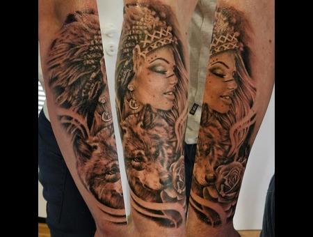 Indian Women Wolf Rose Tattoo Design #Inkandarttattoo Ink & Art Tattoo Shop Black Grey Arm