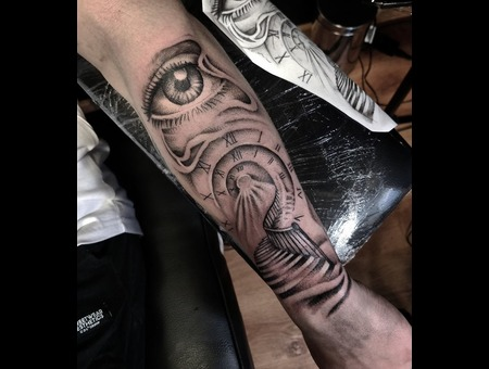 Eye  Time  Stairs Tattoo Design. #Inkandarttattoo Ink & Art Tattoo Shop Black Grey Arm