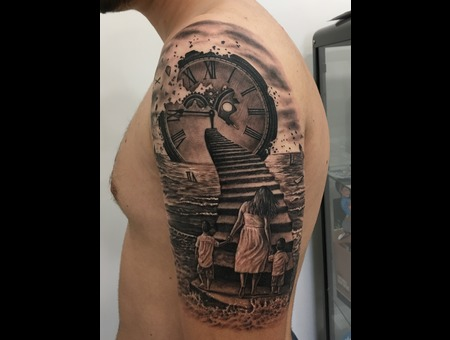 Clock Stairs Sea Waves Water Mother Child Hands Realistic Realism Black Grey Shoulder