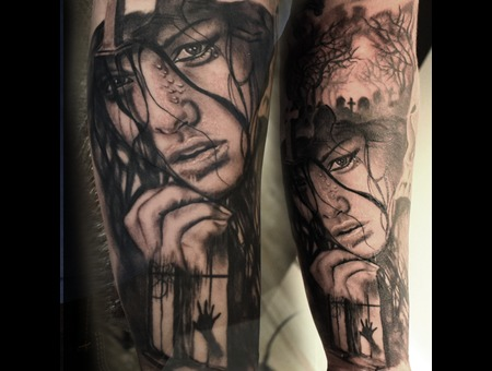 Horror Woman Cemetery Black Grey Forearm