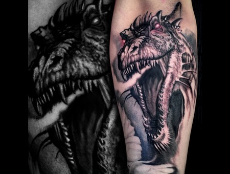 Dragon Black Grey Forearm