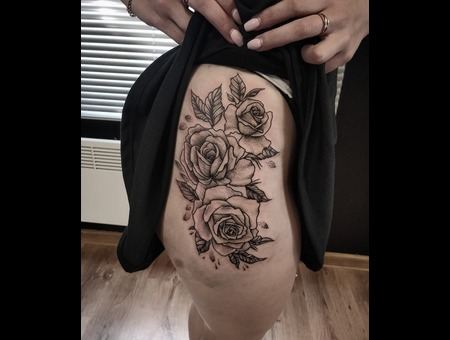 Rose Tattoo #Inkandarttattoo Ink & Art Tattoo Shop Black Grey Hip