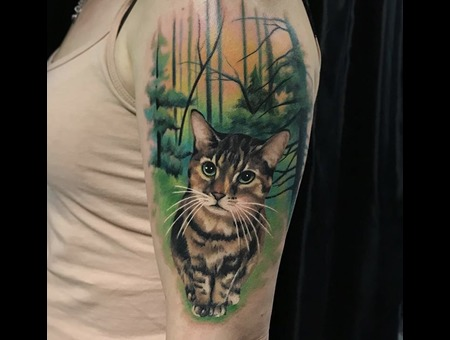 Cat Tattoo Color Shoulder