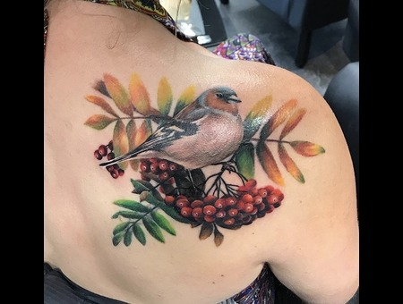 Bird Tattoo  Cover Up Tattoo Color Back