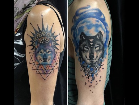 Wolf Tattoo  Couple Tattoo Color Shoulder