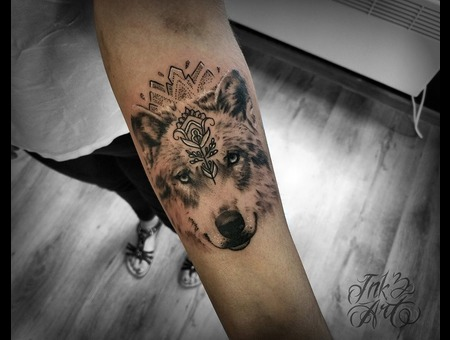Wolf Tattoo. Ink & Art Tattoo Shop Black Grey Arm