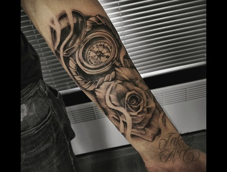 Compass And Rose Tattoo. Ink & Art Tattoo Shop Black Grey Arm