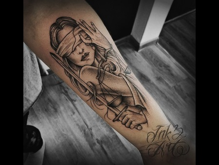 Ink & Art Tattoo Shop Black Grey Arm
