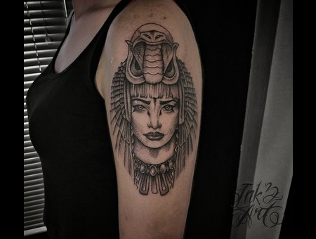 Egiptian Goddess. Ink & Art Tattoo Shop Black Grey Shoulder