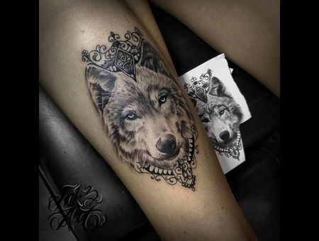 Wolf Tattoo Design. Ink & Art Tattoo Shop Black Grey Foot