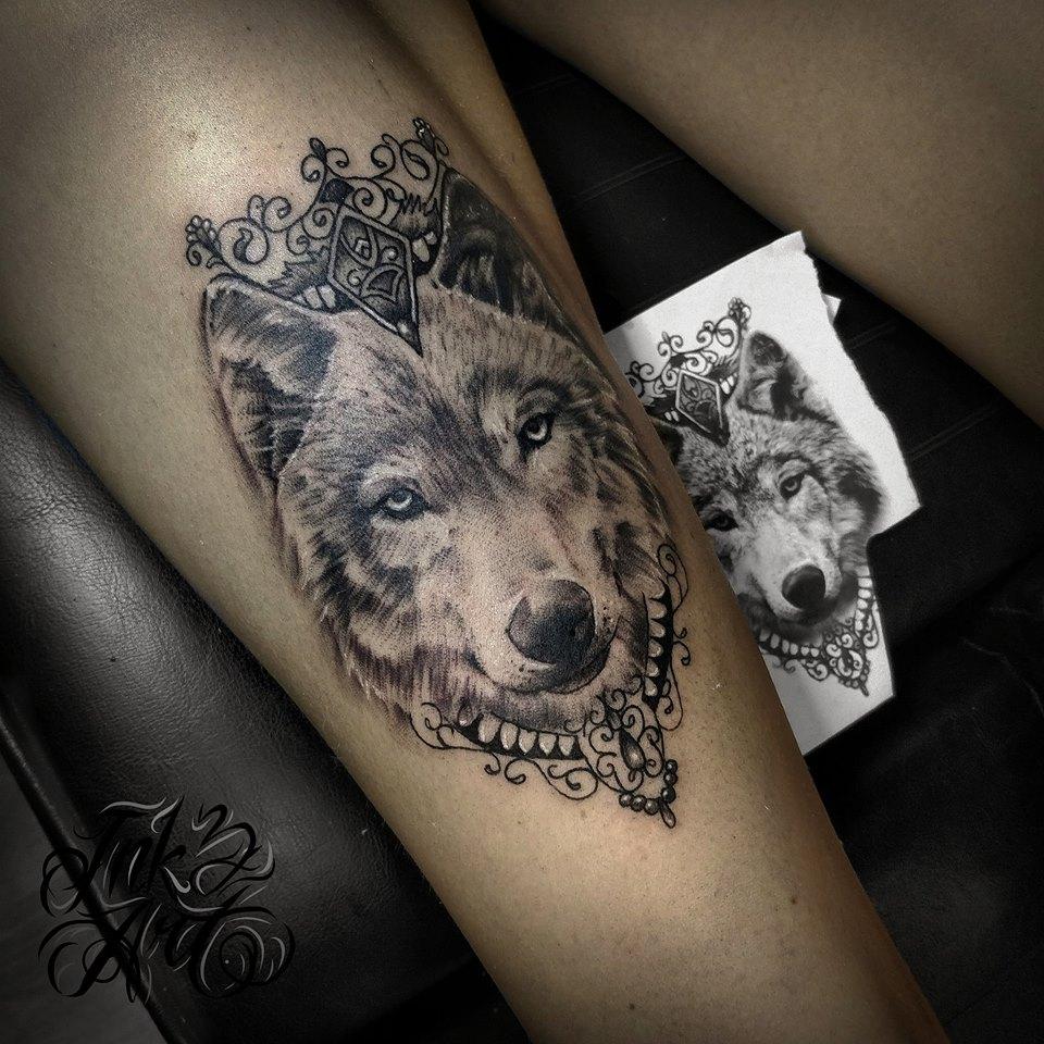 9cb7f991ea96d Wolf Tattoo Design. Ink & Art Tattoo Shop Black Grey Foot