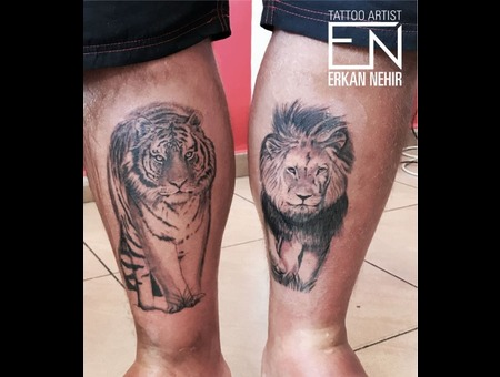 Tiger Lion Realism Tattoos Black Grey Lower Leg