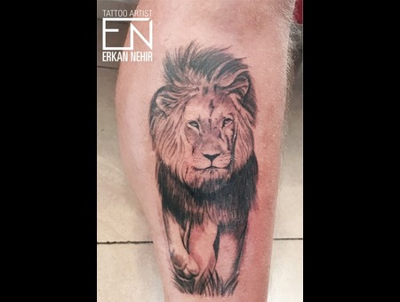 Lion Realism Tattoo Tattoos Erkan Nehir Black Grey Lower Leg