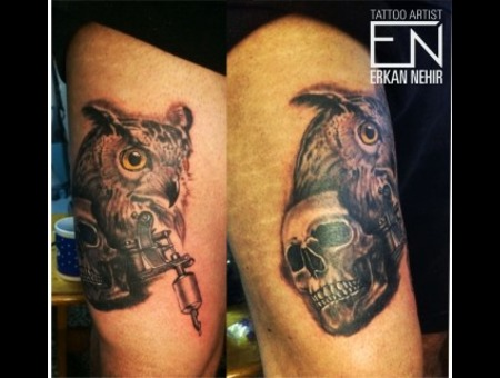 Owl Skull Tattoos Black Grey Thigh