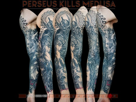 Perseus  Medusa  Andromeda Black Grey Arm