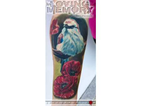 Sparrow  Poppy Flowers  Photo Realism  Color Forearm