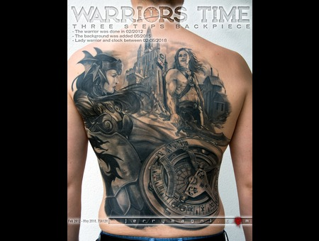 Back Piece  Warriors  Clock Black Grey Back