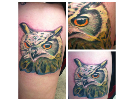 Owl  Color  Realsim  Andrew Patterson  Avenue Tattoo  Orange  Tan   Color