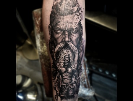 Viking Black Grey Forearm