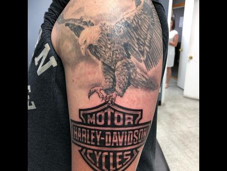 Eagle  Harley Davidson  Patriotic  Black Grey Shoulder
