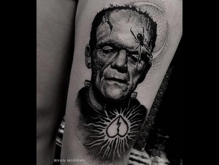 Horror  Frankenstein  Tattoo Black Grey Thigh