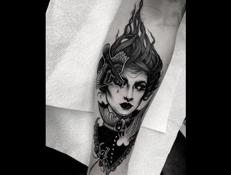 Lady  Tattoo Black Grey Arm