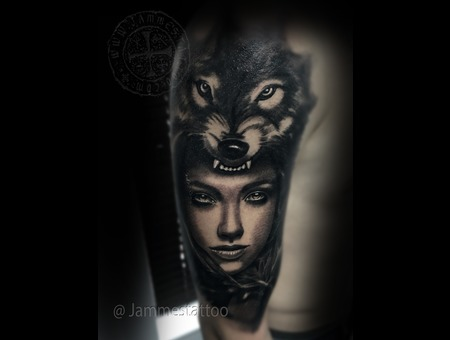 Wolf  Girl Black Grey Arm