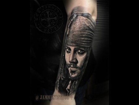 Jack Sparrow Johny Deep Black Grey Forearm