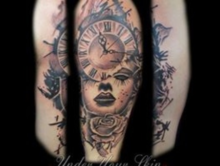 Clock Portrait Realism Black Grey Arm