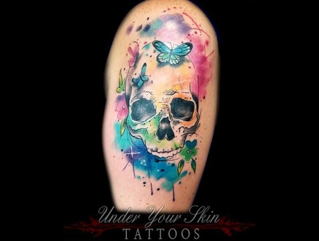 Watercolor Skull Butterfly Tattoo Color Arm