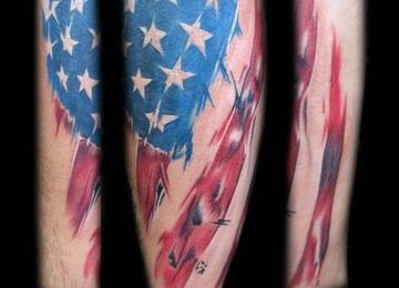 realism American flag paint