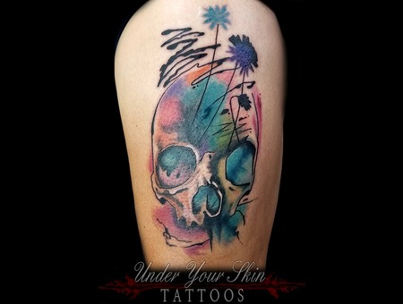 Watercolor Skull Tattoo Color Thigh