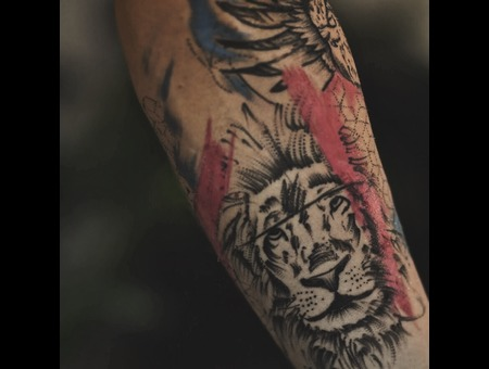 Colorful Lion Tattoo On The Leg Color Lower Leg