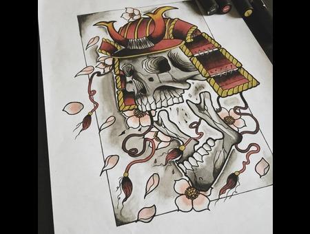 Samurai Tattoo Color Chest