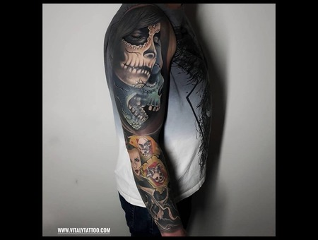 Sleeve Dayofthedead Colurtattoo Color Arm
