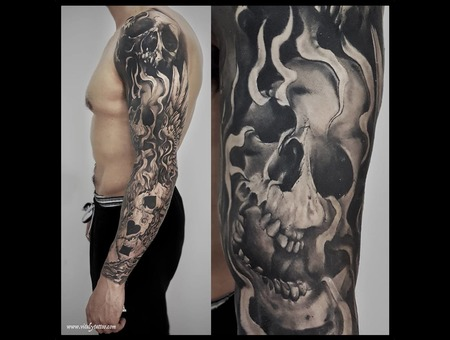 Skull Sleeve  Black Grey Arm