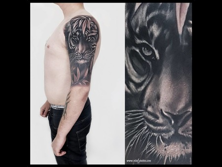 Tiger Tattoo Black Grey Arm