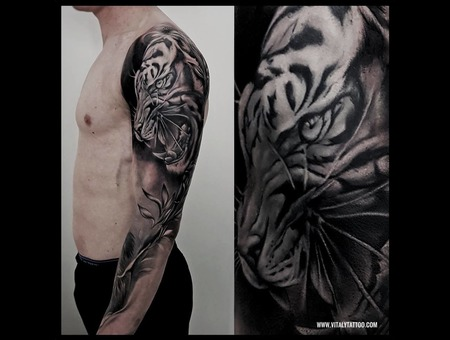 Tiger Sleeve Tattoo Black Grey Arm