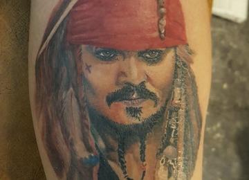 Jacksparrow, captain, portrait, colorportrait, realism, realistic, pirate,