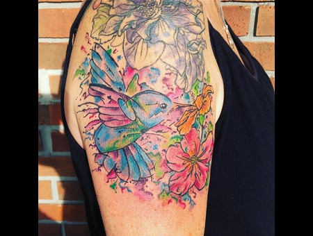 Watercolor Tattoo  Hummingbird Tattoo  Floral Tattoo  Abstract Tattoo Color Arm