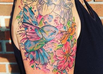 Watercolor tattoo, hummingbird tattoo, floral tattoo, abstract tattoo