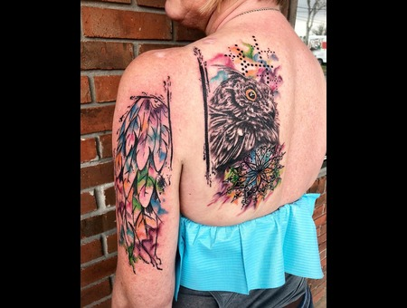 Watercolor Tattoo  Abstract Tattoo  Owl Mandala Tattoo  Color Shoulder