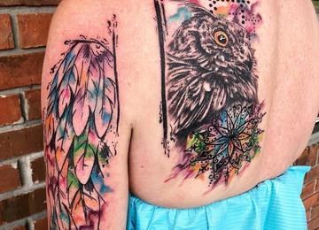 Watercolor tattoo, abstract tattoo, owl mandala tattoo
